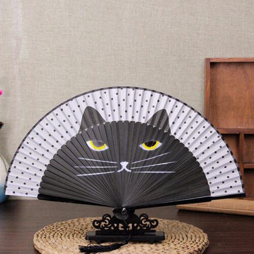 Cartoon Cat Pattern Folding Fan with Tassel Kids Dancing Fan Accessories LG