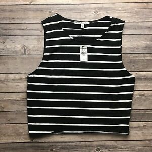 9b11aa041b Image is loading Express-One-Eleven-Womens-Black-White-Stripe-Sleeveless-