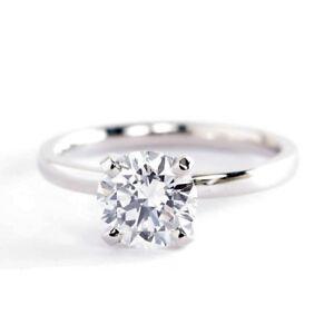 1-00Ct-SI2-F-Redondo-Ajuste-Comodo-Anillo-Solitario-Diamante-de-Compromiso-18K