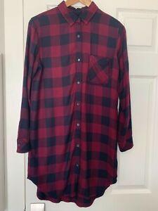 Rails-Bianca-Flannel-Plaid-Shirtdress-Small-Burgundy-Red-Tunic-Button-Down-Dress