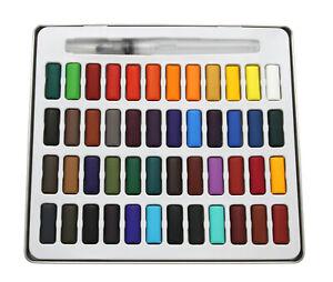 Aquarell Malkasten, Farbkasten 48 Farbtöne im Metallkasten inkl. Pinsel Wasserfb