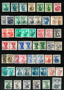 AUSTRIA-1948-59-Regional-Costumes-Series-32-Diff-Fine-Used-with-Shade-Varieties