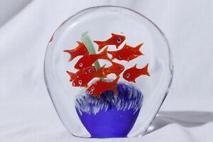 Murano-Hand-Blown-Fish-Bowl-Aquarium-Art-Glass-Paperweight