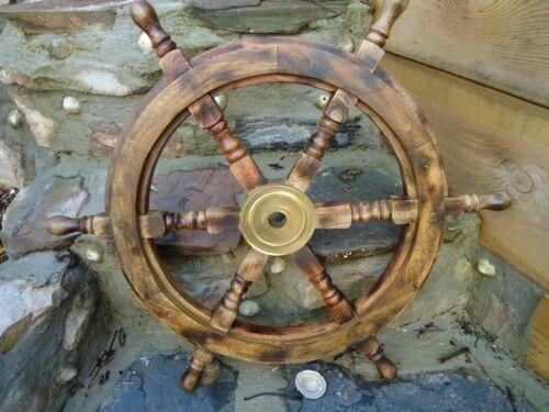 """Gran rueda de buques de madera de mango 24/"""" de Madera /& latón náutica Marítimo Decoración del hogar"""