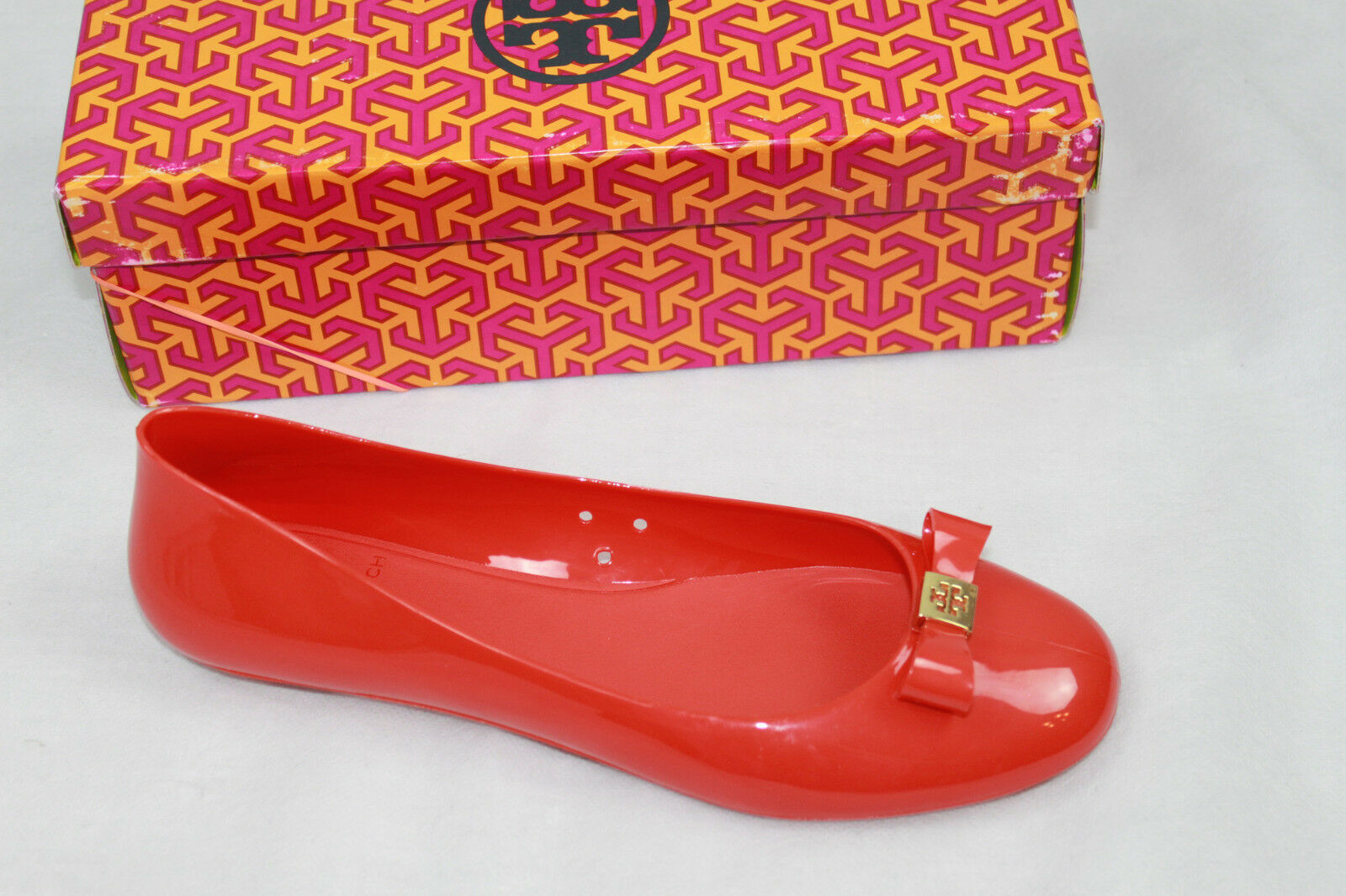 AUTH Ballet Tory Burch Damens Flame ROT Jelly Ballet AUTH With Bow Flat Schuhes e48ff3