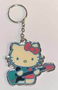 Hello-Kitty-Keychain-Vintage-Key-Ring-Enamel-Sanrio-Metal-Guitar-Cartoon-Charm
