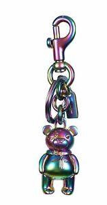 COACH-Teddy-Bear-Key-Ring-Bag-Charm-Key-Chain-3D-Hologram-amp-gold-F87166-NEW-TAGS