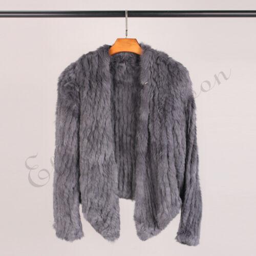 Cape Jakke 100 Fur Knit Real Cardigan Kvinde Shawl Mode Frakke Rabbit xzwYBq6fz