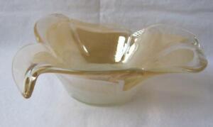 Genuine Italian Art Deco Glass Bowl Sand Beige Tammaro Italy Murano No 176
