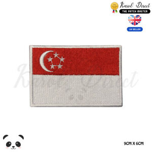 SINGAPORE-National-Flag-Embroidered-Iron-On-Sew-On-Patch-Badge-For-Clothes-etc