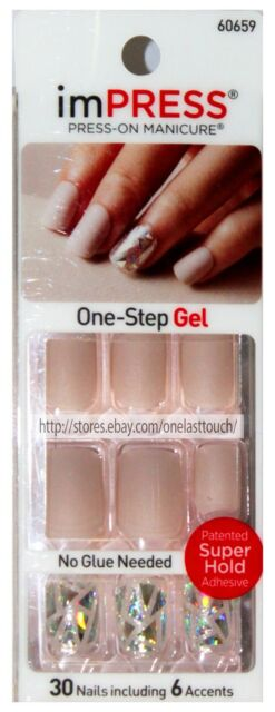 KISS*imPRESS Press-On Manicure ONE SHINE DAY 30 Nail+Accent MATTE BEIGE 60659 1a