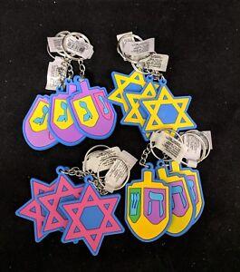 12 Hanukkah Keychains Star of David Texting Wood Dreidels Jewish holiday Israel