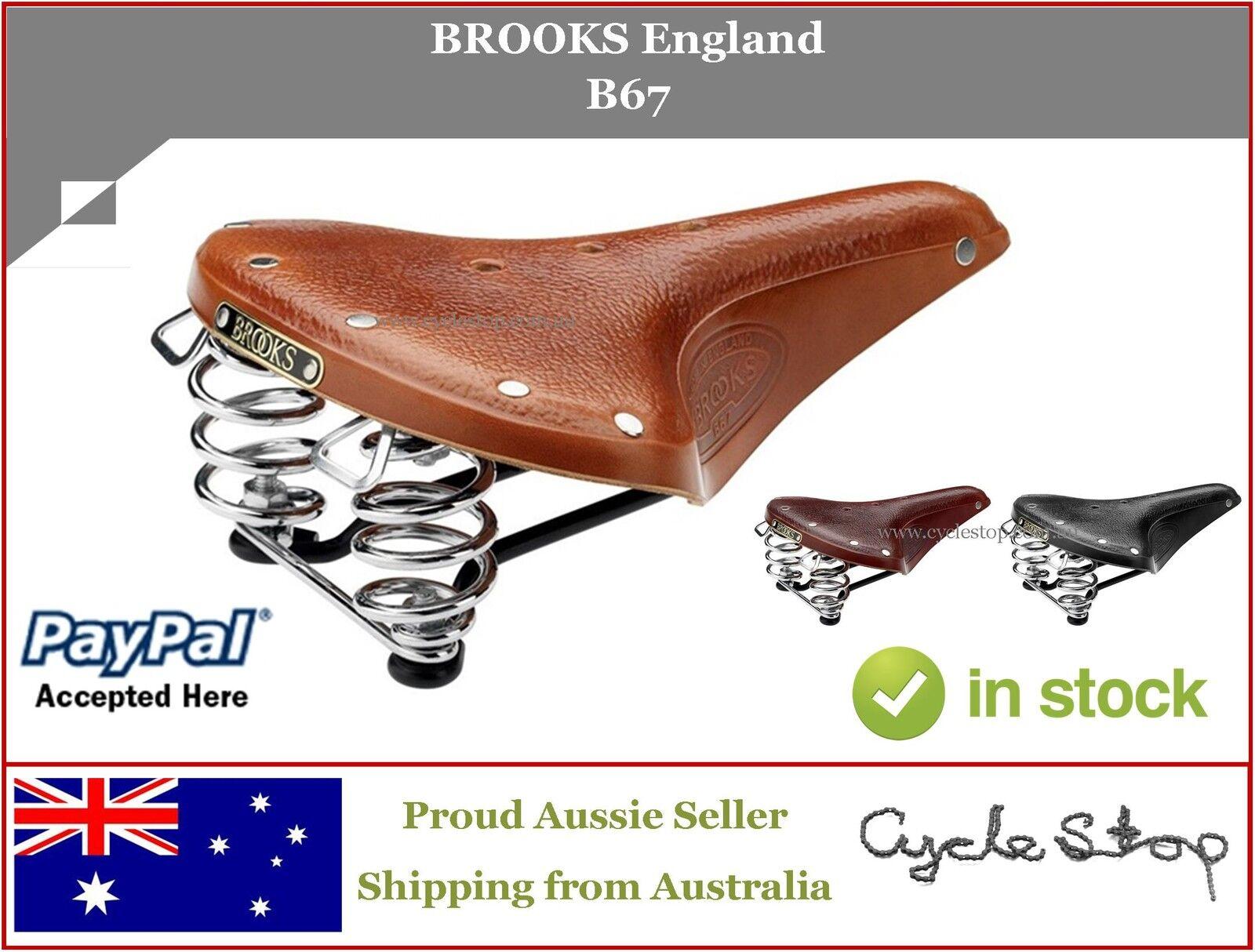BIKE SEAT SPRUNG - BROOKS ENGLAND - B67 LEATHER SADDLE RETRO OLD SCHOOL STYLE
