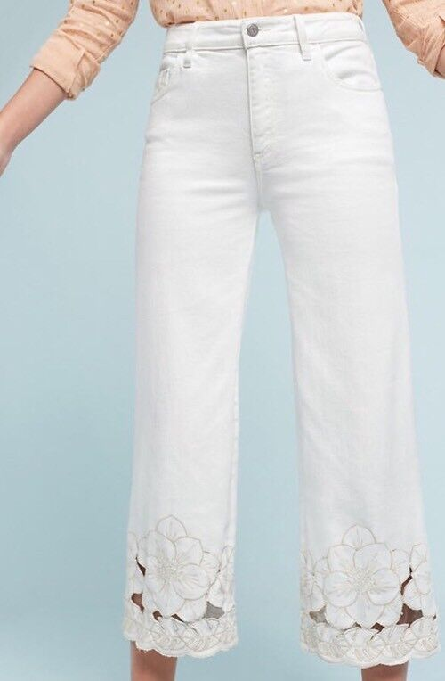 NEW Pilcro Stet Mid-Rise Embroidered Cut-Out Crop Wide Leg Jeans