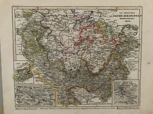 1849-SAXE-MEININGEN-GERMANY-ANTIQUE-HAND-COLOURED-MAP-BY-JOSEPH-MEYER