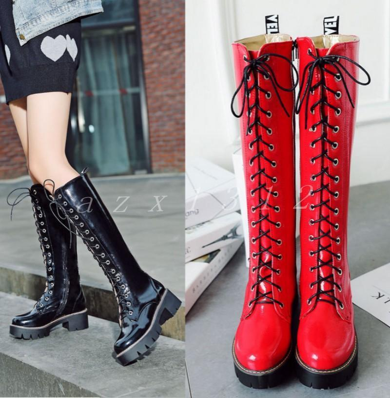 Vogue Womens Combat Lace Up Faux Leather New Motorcycle Knee High Boots shoes