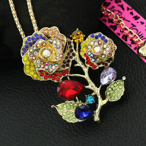 Betsey-Johnson-Women-039-s-Crystal-Rose-Flower-Pendant-Chain-Necklace-Brooch-Pin