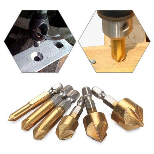 Tools Wood PVC Cutter Countersink Drill Bit 5 Flute Bevel Drills Edge Chamfer