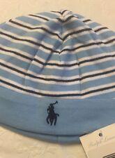 Ralph Lauren Cotton Baby Boy NewBorn (0-6 Months Hat  Striped Sky Blue / Navy