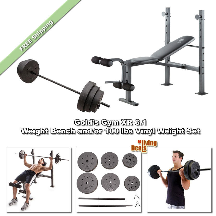 Gold Gym XR 6.1 Bench Press Weight Lifting FID Golds ...