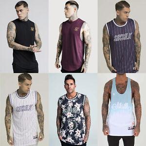 Mens-Sik-Silk-Designer-Racer-Basketball-Stringer-Summer-Vest-Tank-Top-T-Shirt