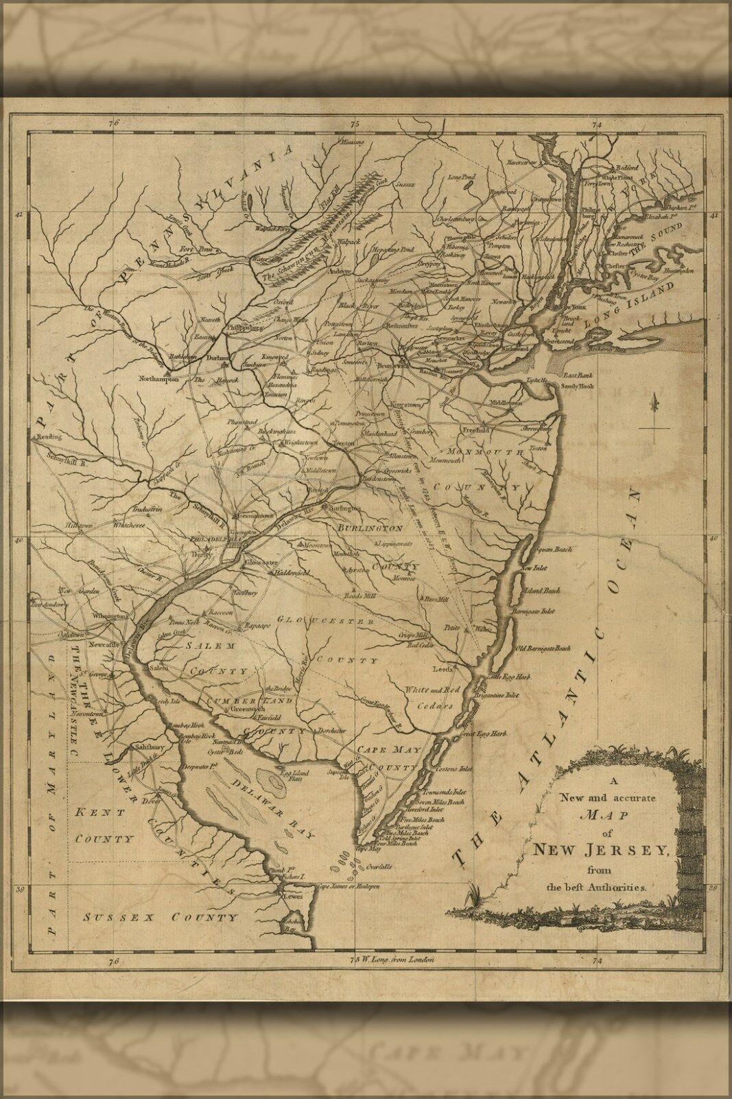 Viele Plakat, Größen; von Jersey 1780 Karte kvvmf057354 ...