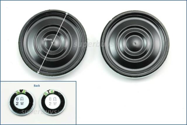 2pcs 28mm Audio Speaker 8Ohm 8Ω 2W Stereo Woofer Trumpet Horn Loudspeaker Loud