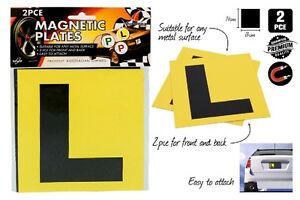 2pcs Driver Magnetic Yellow L Plates
