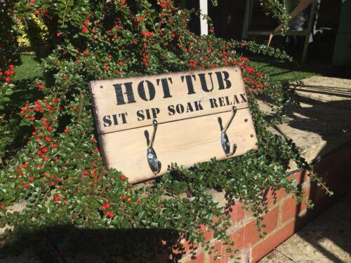 Hot Tub//jacuzzi Signe Avec 3 Peignoir//Serviette Crochets peut être personalis