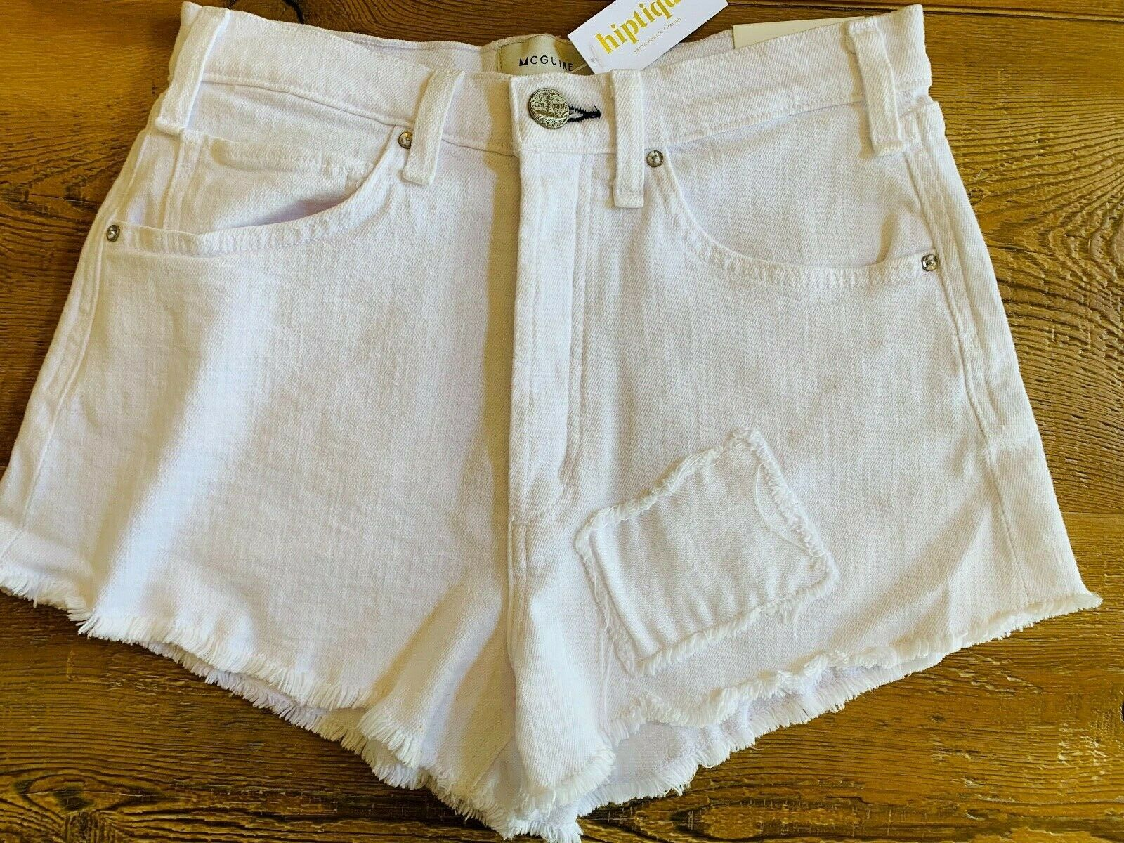 Mc Guire Georgia May Denim Shorts, White, NWT, Size 30