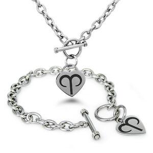 Stainless-Steel-Astrology-Zodiac-Dark-Symbol-Heart-Charm-Bracelet-Necklace-Set
