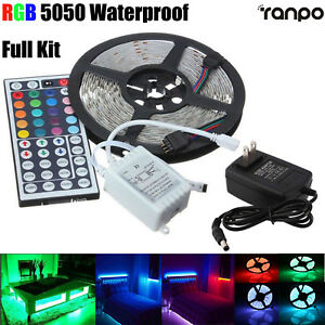 5M-RGB-Waterproof-LED-Strip-Light-5050-SMD-300-LEDs-44-Key-Remote-12V-Full-Kit