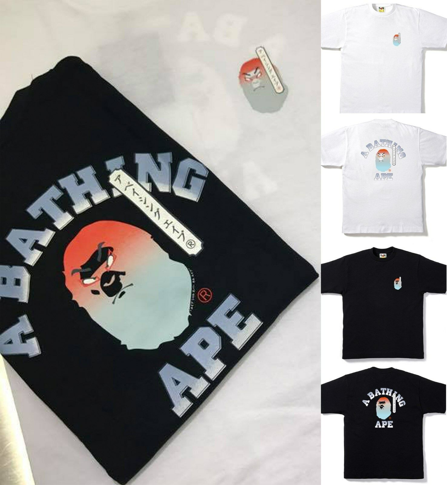 * A BATHING APE Men/'s KABUKI COLLEGE TEE 2colors Black//White From Japan New