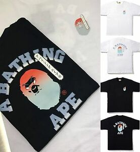 A-BATHING-APE-Men-039-s-KABUKI-COLLEGE-TEE-2colors-Black-White-From-Japan-New