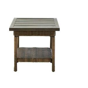 Hampton Bay Beacon Park Outdoor Accent Table Steel Wicker Weather Resistant