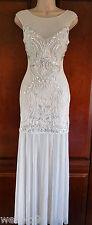 Lipsy VIP ASOS Embllished Lace Embroidered Sheer Hem Maxi  Wedding Dress NewSz12