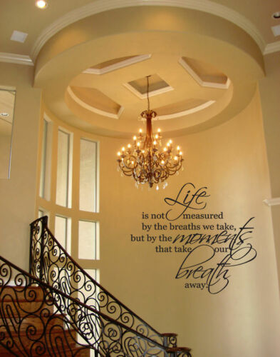 LIFE MOMENTS BREATHS  WALL QUOTE DECAL VINYL WORDS HOME LETTERING