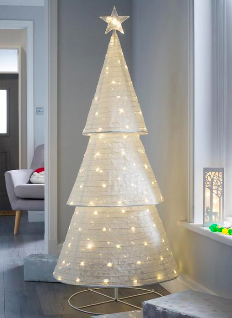 Indoor Christmas Decorations.Pre Lit Pop Up Christmas Tree Led White Fabric Pattern Indoor Xmas Decoration