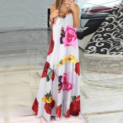 Women Sleeveless Printed Floral Holiday Evening Dresses Casual Kaftan Slip Dress