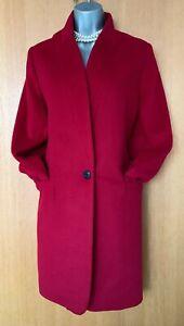 KAREN-MILLEN-UK-12-Dark-Red-Wool-Blend-Front-Button-Blazer-Jacket-Coat-BIG-SIZE