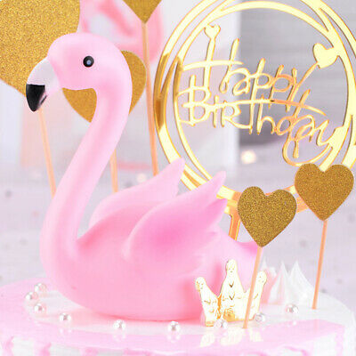Pink Flamingo Cake Topper Dessert Cupcake Decor Wedding Birthday Party Decor FG