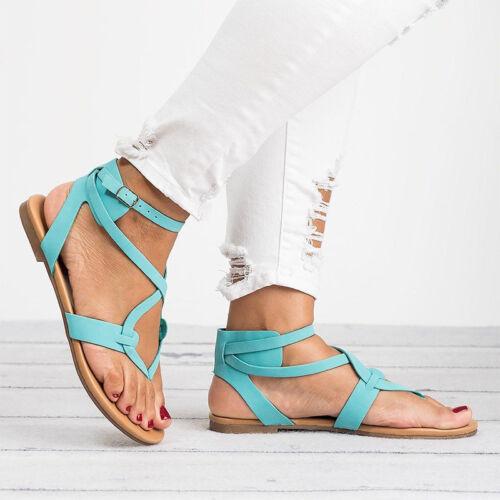 Womens Summer Beach Toe Post Flat Sandals Flip Flops Roman Low Wedge Heel Shoes