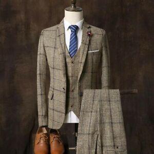 Men-039-s-One-Button-Outwear-Slim-Wedding-Formal-Business-Blazer-Pants-Vest-3Pcs-Sui
