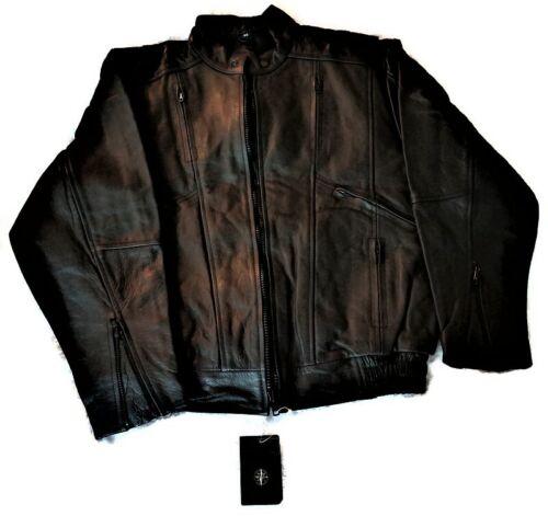 East West Import Black Leather Bomber Jacket Vinta