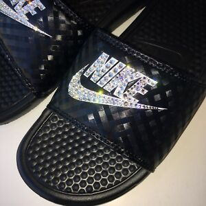 pretty nice a2ef9 6438c Image is loading Bling-Nike-Benassi-JDI-Women-039-s-Slides-