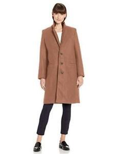 Essentials Women's Plush Button-Front Coat, Camel M, Camel, Size Medium g