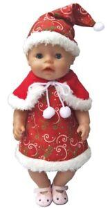 Puppenkleidung rot mit weißen Sternen NEU Baby Born Kleid 43 cm zb
