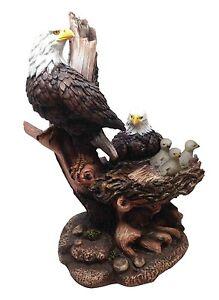 Icarus Glory American Bald Eagle Family Unit In Nest Figurine Patriotic Symbol