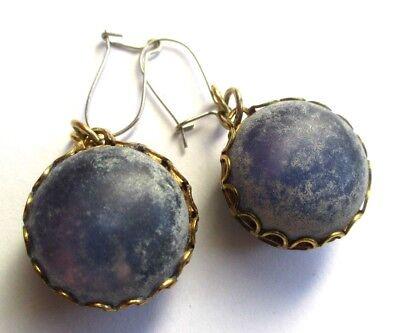 Costante Originales Boucles D'oreilles Percées Couleur Or Gemme Bleu Bijou Vintage 5085