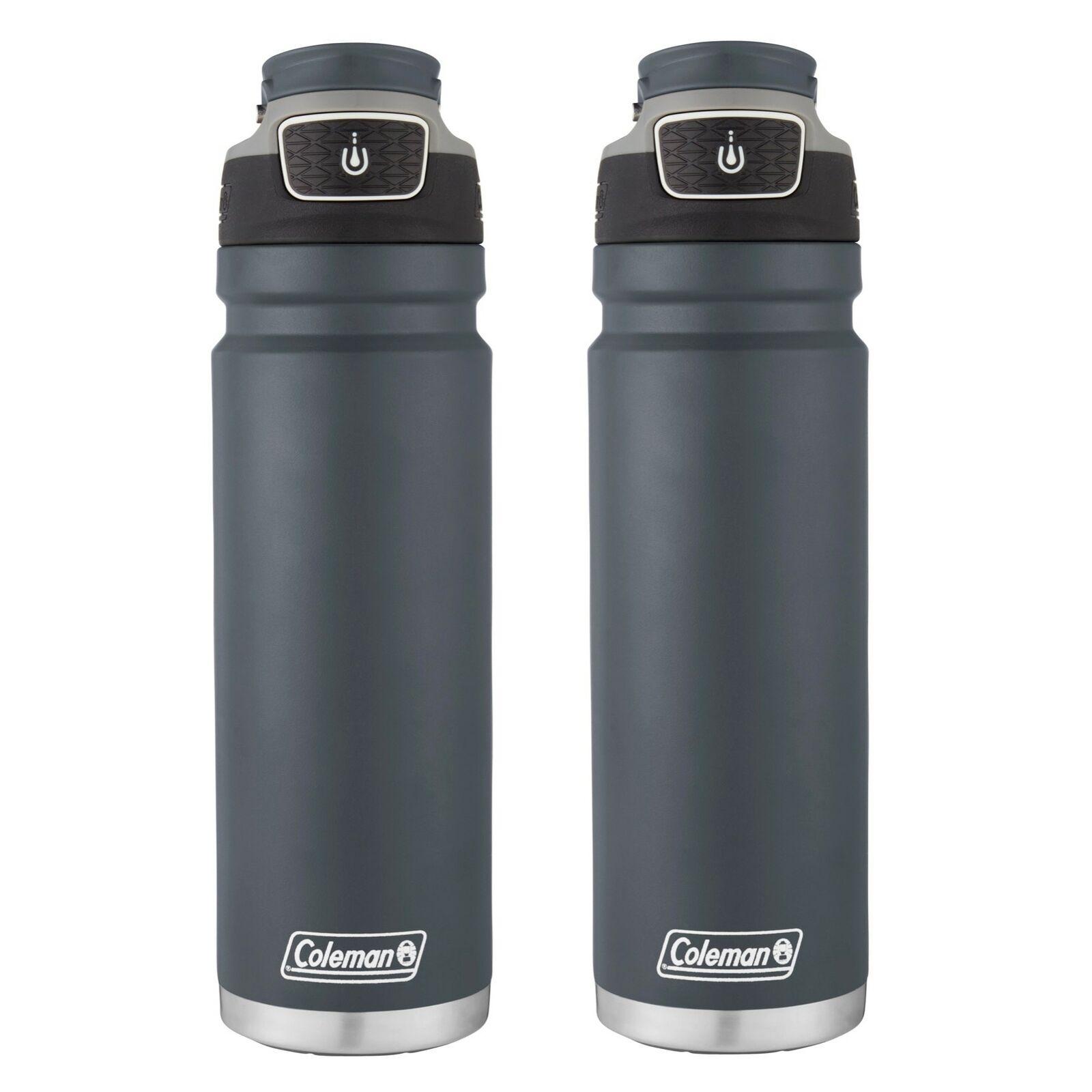Coleman  Freeflow Autoseal Botella De Agua De Acero Inoxidable Azul pizarra 24oz (2 paquetes)  online al mejor precio